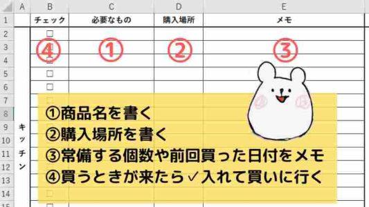 日用品リスト例②