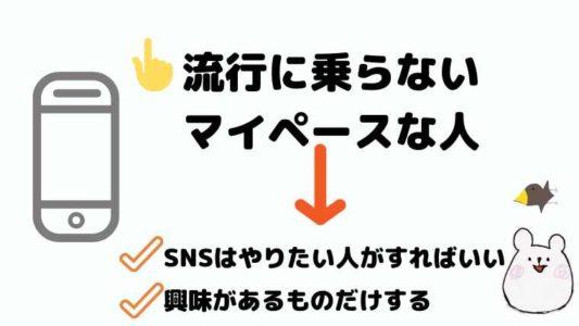 流行に乗らないマイペースうな人→SNSはやりたい人がすればいい、興味があるものだけする