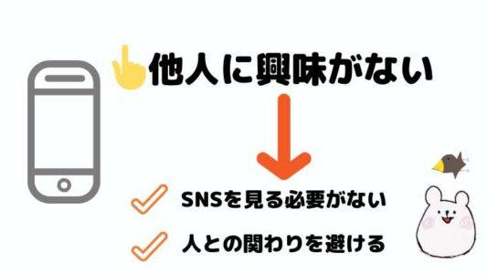 他人に興味がない→SNSを見る必要がない、人との関わりを避ける