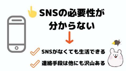 SNSの必要性が分からない→SNSがなくても生活できる、連絡手段は他にも沢山ある